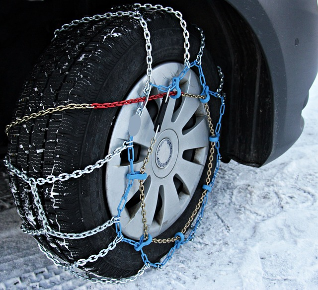 kolo a sněhové řetězy